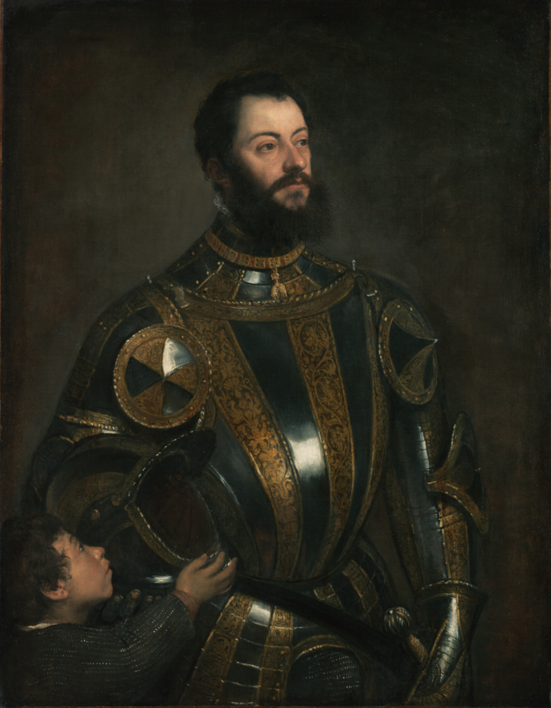 Tiziano Pinturas Portrait Of Alfonso D Avalos Marchese Del Vasto In Armor With A