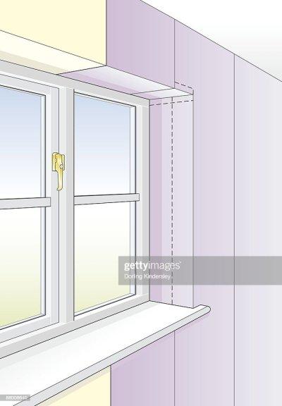 Digital Illustration Wallpaper On Reveal Of Window Stock Illustration | Getty Images