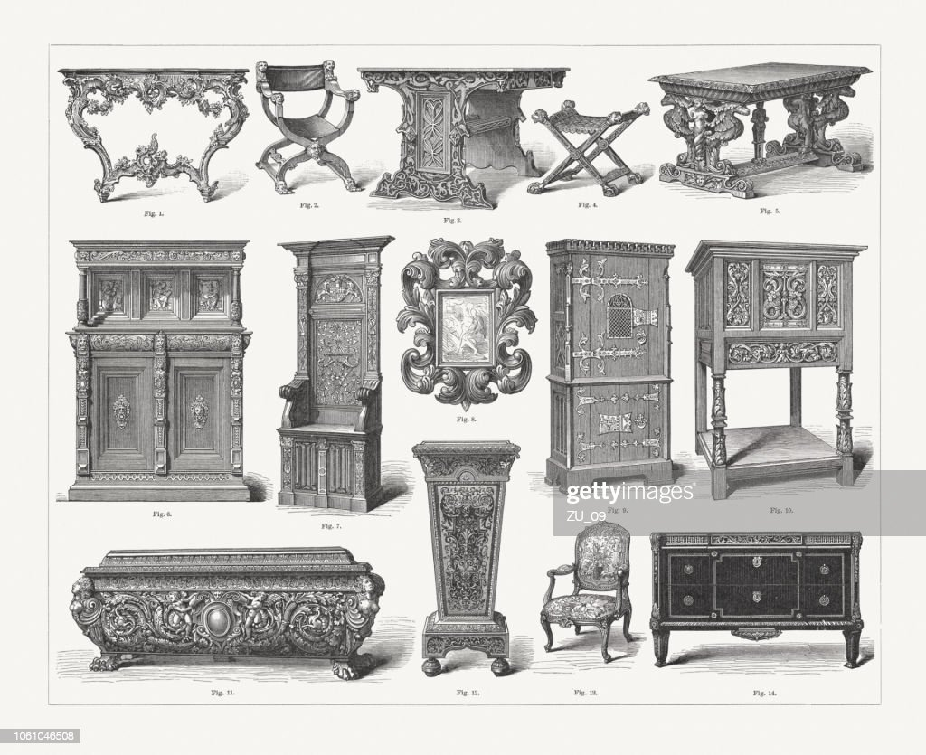 Furniture Of Different Styles From Gothic To Rococo Published 1897 High Res Vector Graphic Getty Images