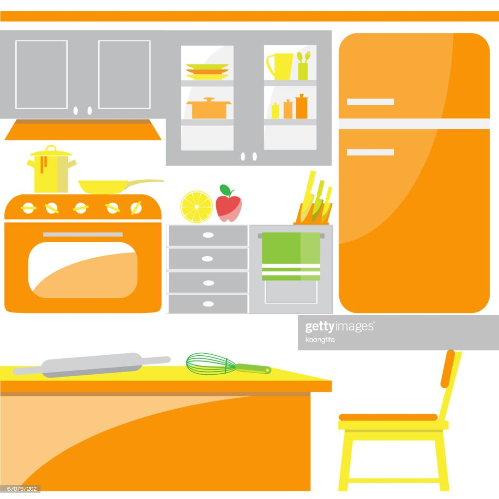 Orange Küche Orange Moderne Küche Zimmer Flach Symbol Vektor Stock Illustration