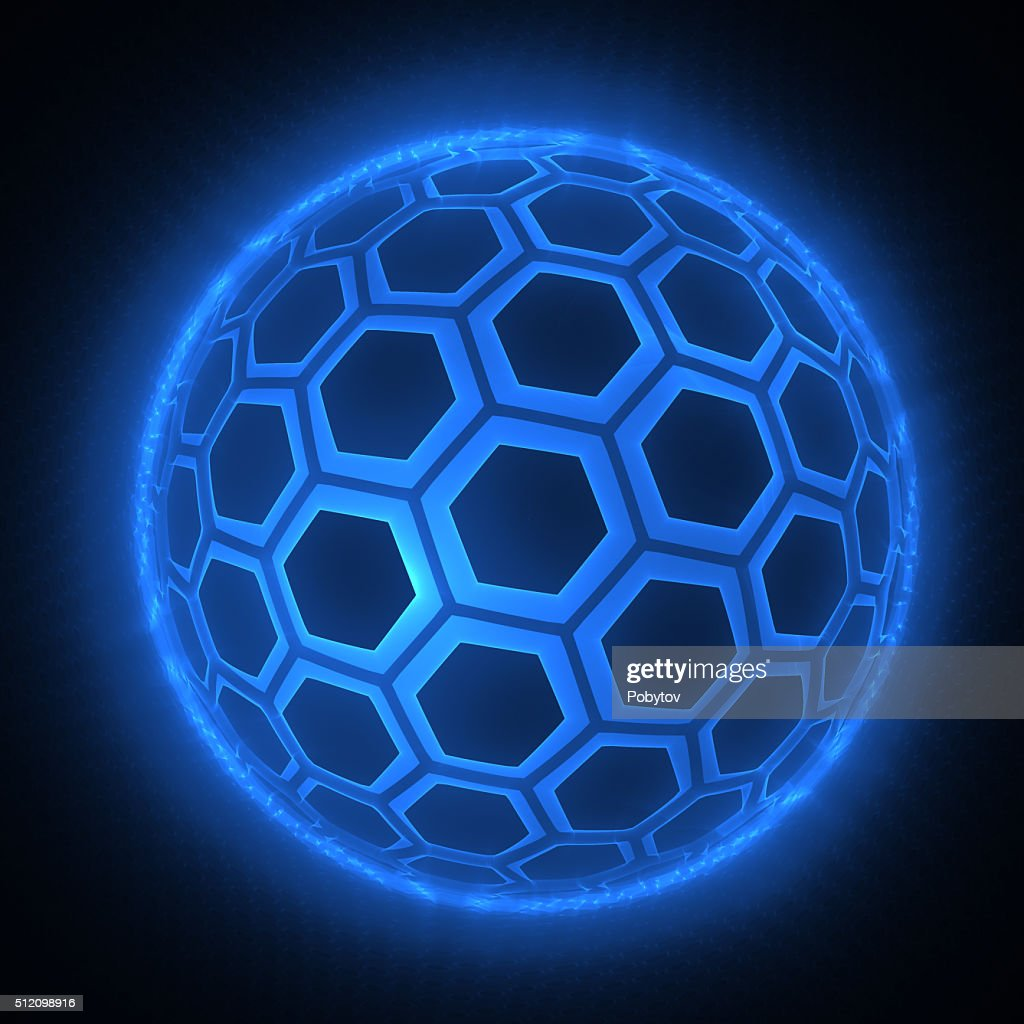 Futuristik Design Sphere Of Hexagons Futuristic Design Element Stock Illustration