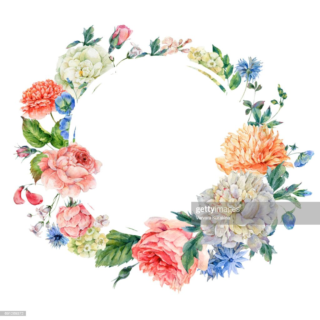 Aquarell Runden Rahmen Mit Pfingstrosen Rosen Stock Illustration Getty Images