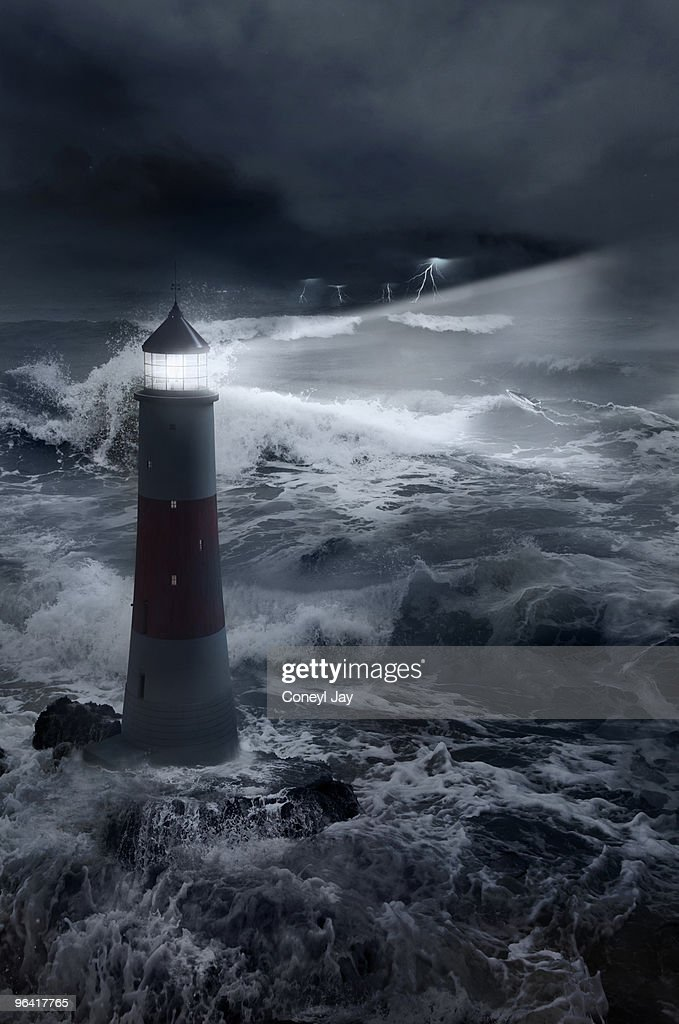 3d Wallpaper Ship 3d Lighthouse With Stormy Seas And Boat Stock Photo