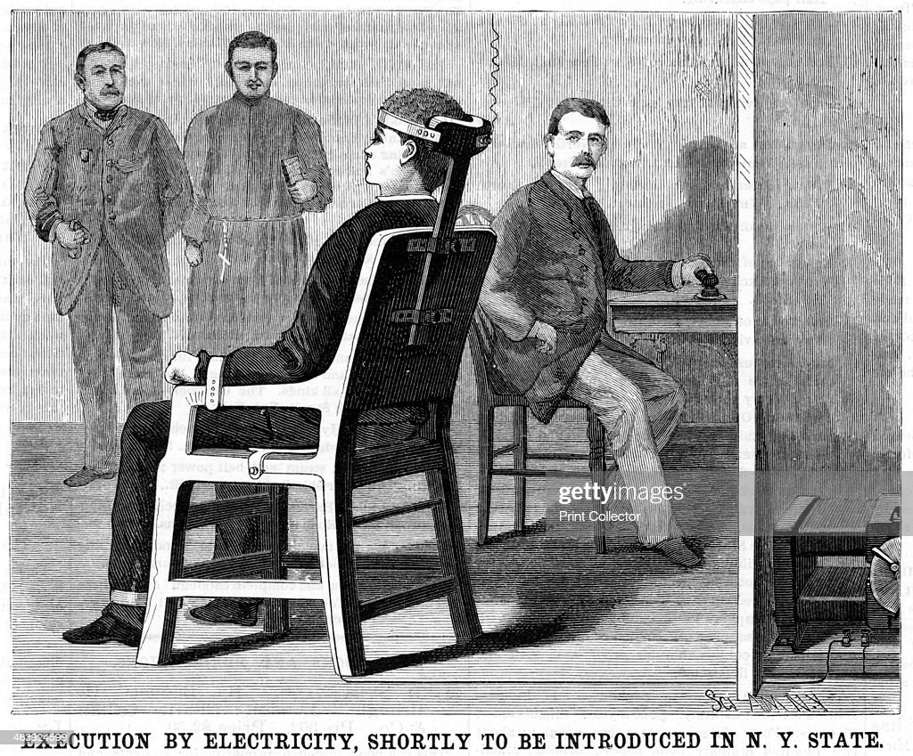 Artist s impression of execution by electric chair 1890 after experiments on animals to ensure