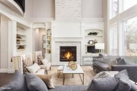 Beautiful Living Room Interior With Tall Vaulted Ceiling ...