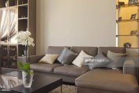 Big And Comfortable Living Room With Sofa In Luxury ...