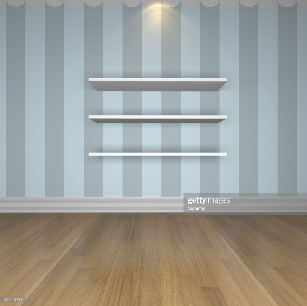 Blue Wall Shelves Stock Photo Getty Images