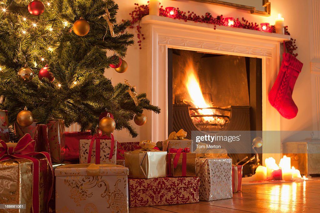 Christmas Fireplace Wallpaper Animated Christmas Tree Stock Photos And Pictures Getty Images