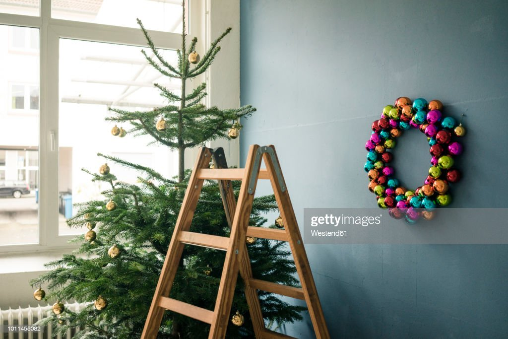 Christmas Tree Christmas Wreath And Ladder In A Loft Stock