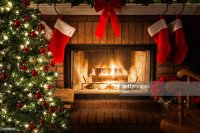 Decorated Christmas Tree Blazing Fire In Fireplace ...