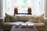 Empty Living Room With Couch And Coffee Table Stock Photo ...