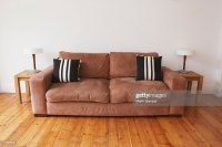 Empty Living Room With Couch And End Tables Stock Photo ...