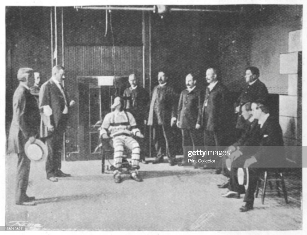 Execution by electric chair united states 1898 the warden holds a handkerchief in his left hand