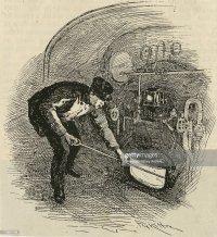 Fireman shoveling coal into the furnace of locomotive ...