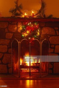 Holce078 Fireplace Decorated For Christmas Stock Photo ...