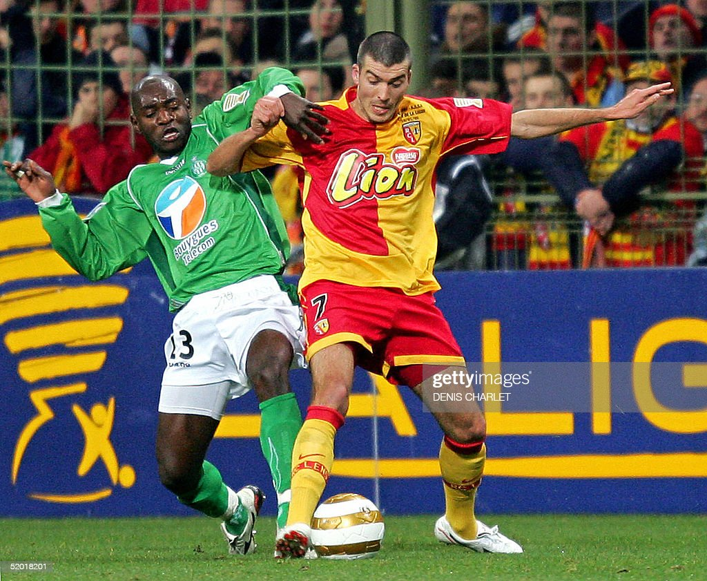 Leroy Lens Lens S Defender Jerome Leroy Vies With Saint Etienne S Forward