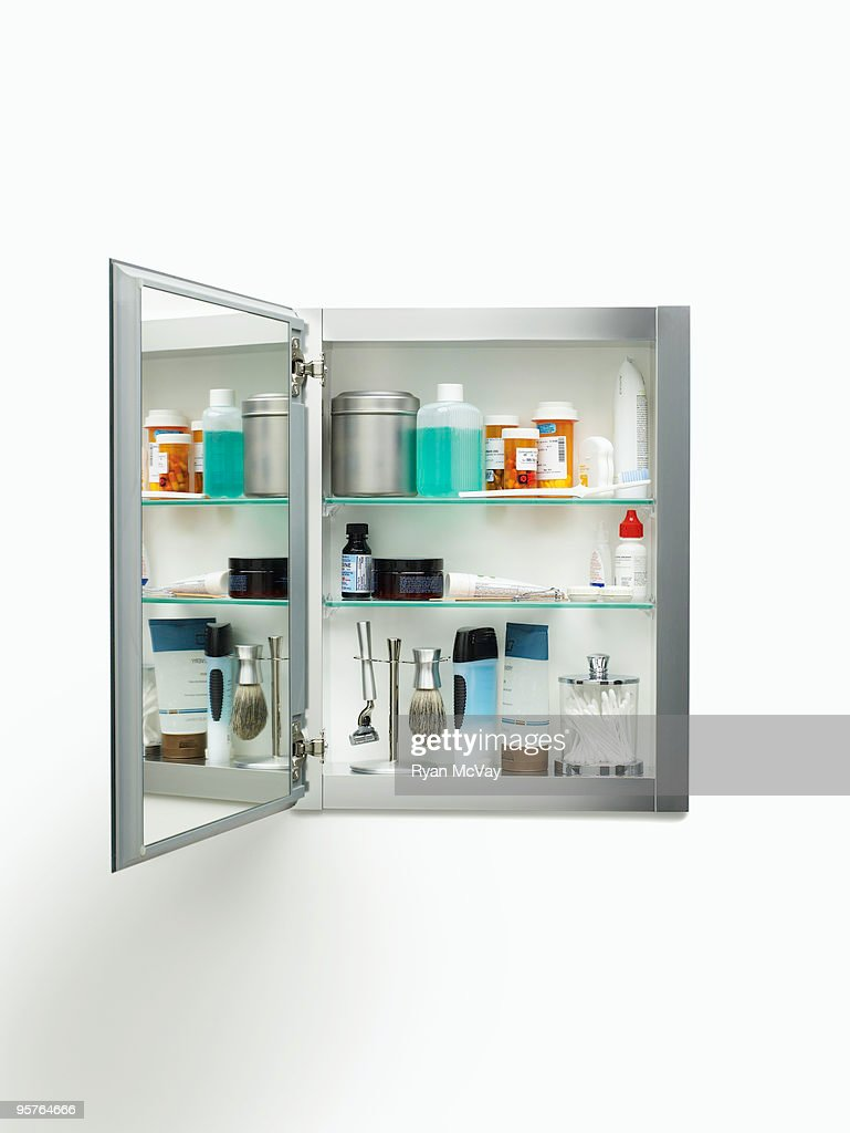 Medicine Cabinet On White Stock Photo