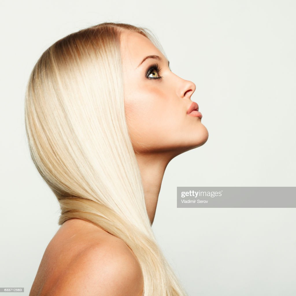 Woman Profile Profile Of Caucasian Woman Looking Up Stock Photo Getty
