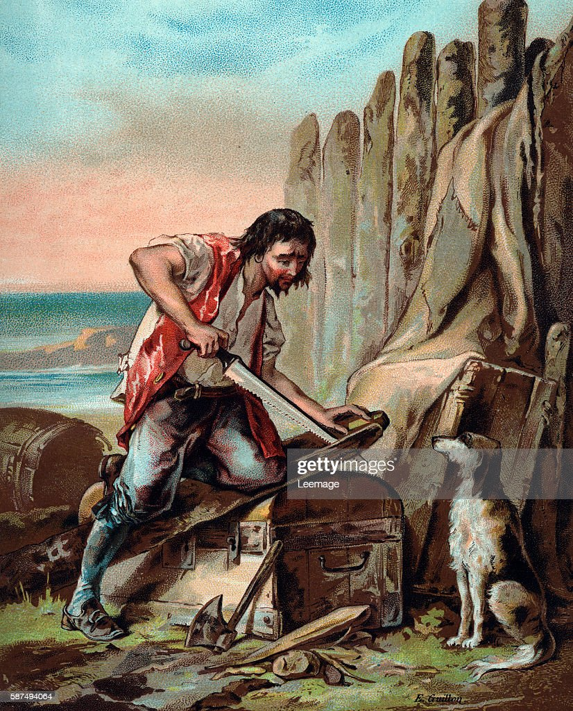 Robinson Crusoe Robinson Crusoe Building His First Dwelling Chromolithograph By