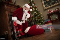 Shh Real Santa Climbing Out Of The Fireplace Stock Photo ...