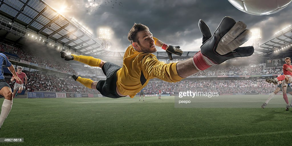 Hd Girl Wallpaper Print Soccer Goalkeeper Extreme Close Up Action Stock Photo
