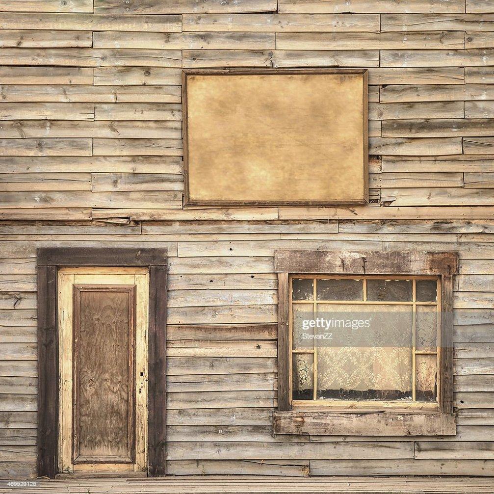 Western Vintage Wooden Facade Background Door Window And
