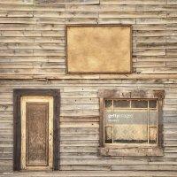 Western Vintage Wooden Facade Background Door Window And ...