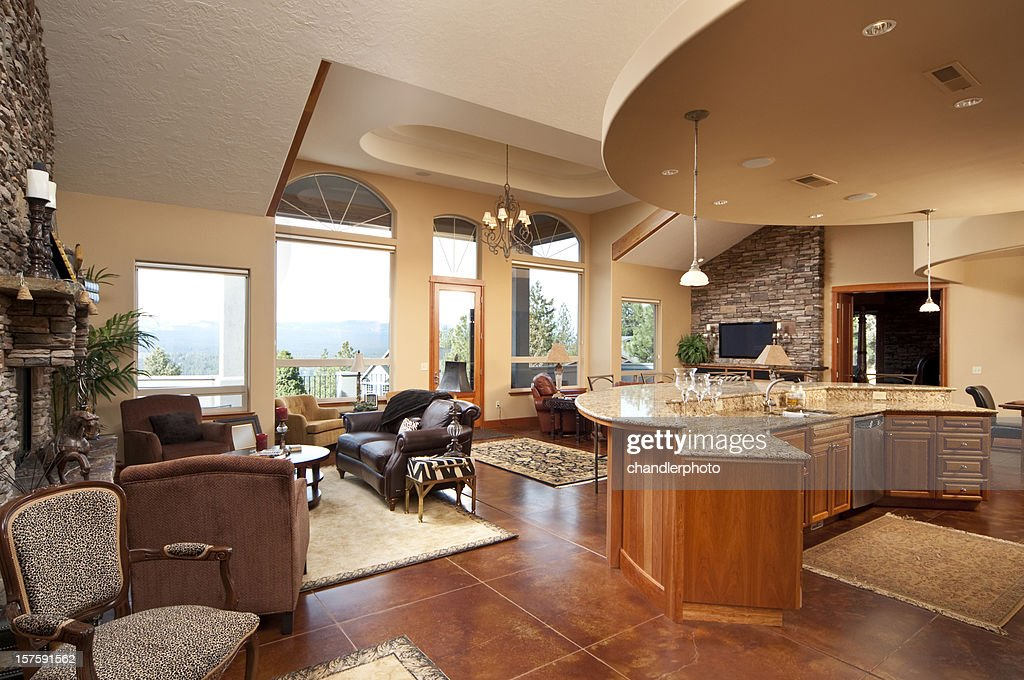 Wide Angle Of Modern Living Room And Kitchen Stock Photo