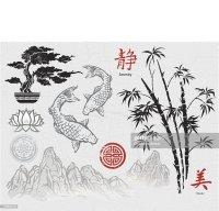 Asian Ink Design Elements Vector Art   Thinkstock