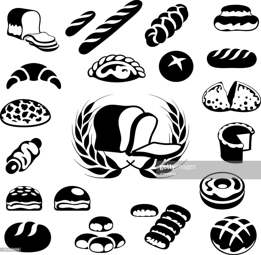 Loaf Clipart Black And White Bakery Icons Bread And Pastries Vector Art Getty Images