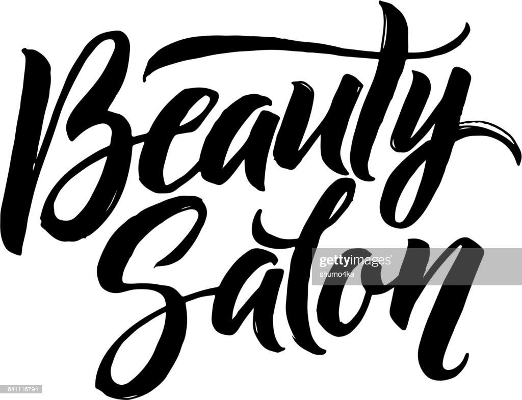Salon Scrapbooking Beauty Salon Typography Square Poster Vector Lettering Calligraphy