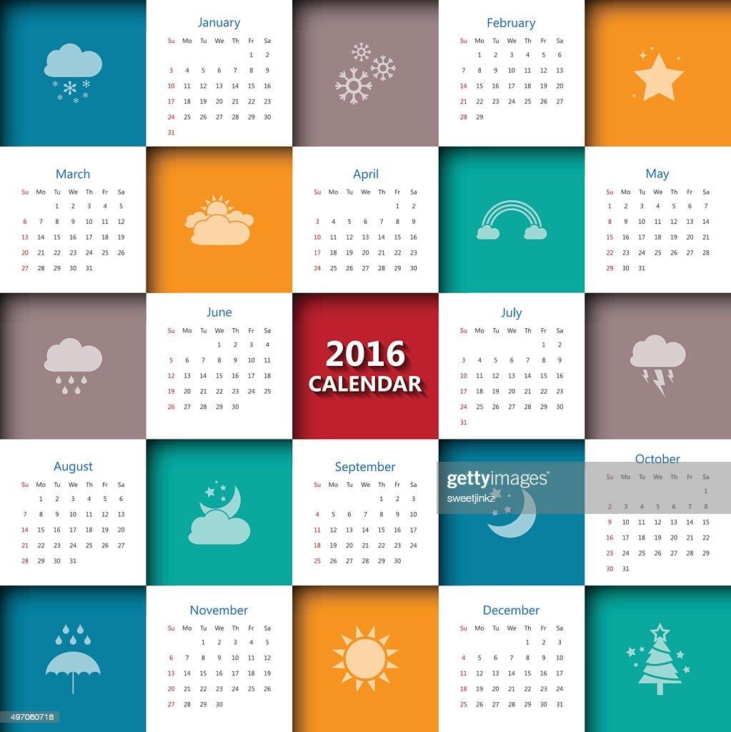 Events Milwaukee Art Museum Calendar 2016 Calendar Template With Weather Iconvectorillustration