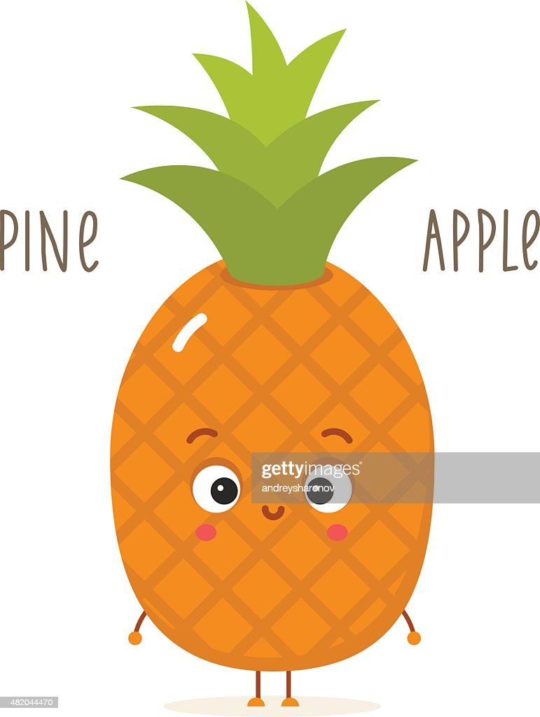 Ananas Rijp Test Cartoon Pineapple With Eyes Isolated On White Stockillustraties