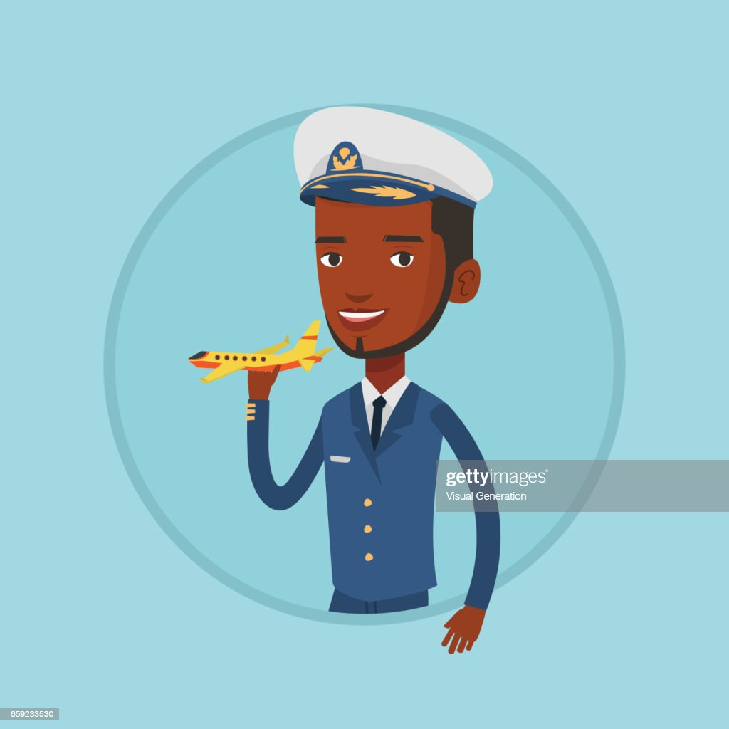 Fröhliche Airlinepiloten Mit Modellflugzeug Stock Illustration Getty Images
