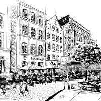 City Hand Drawn Cafe Sketch Vector Illustration Vector Art ...