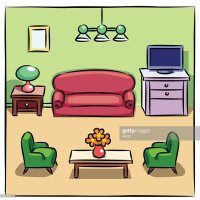 Colorful Drawing Of Living Room With Furniture Vector Art