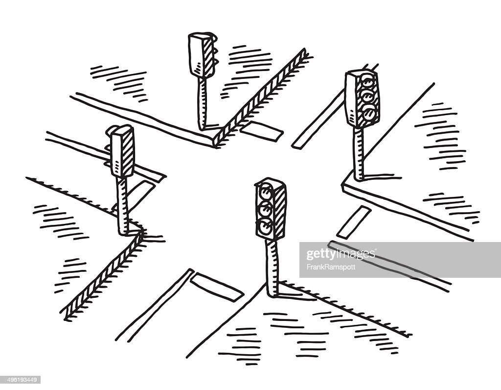 Road Crossing Clipart Black And White Crossroads Traffic Lights Drawing Vector Art Getty Images