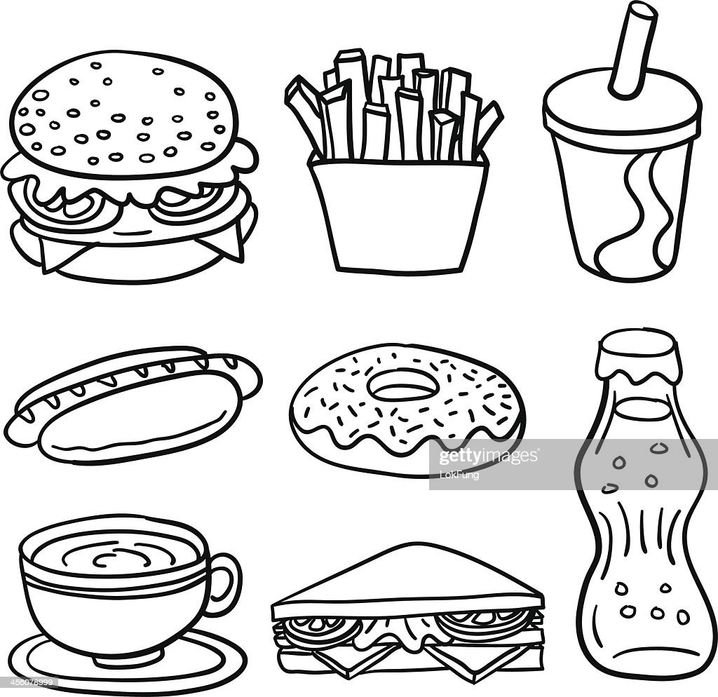 Fastfood collection in black and white vector art getty