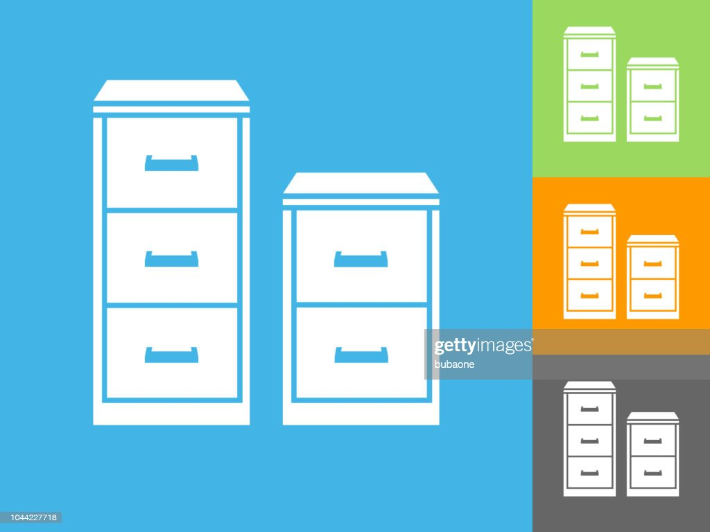 Filing Cabinet Icon Flat Filing Cabinet Flat Icon On Blue Background Stock Vector Getty