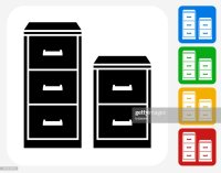 Filing Cabinet Icon Flat Graphic Design Vector Art