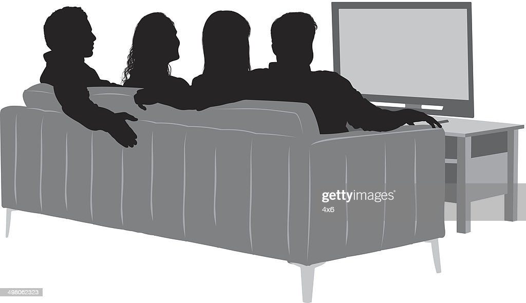 4x6 Sofa Friends Watching Tv Vector Art | Getty Images