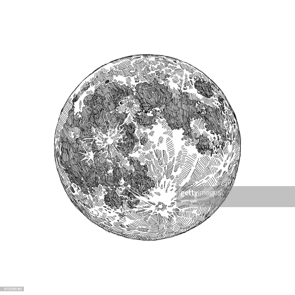 Full Moon Drawing Black And White Full Moon Sketch Stock Illustration Getty Images