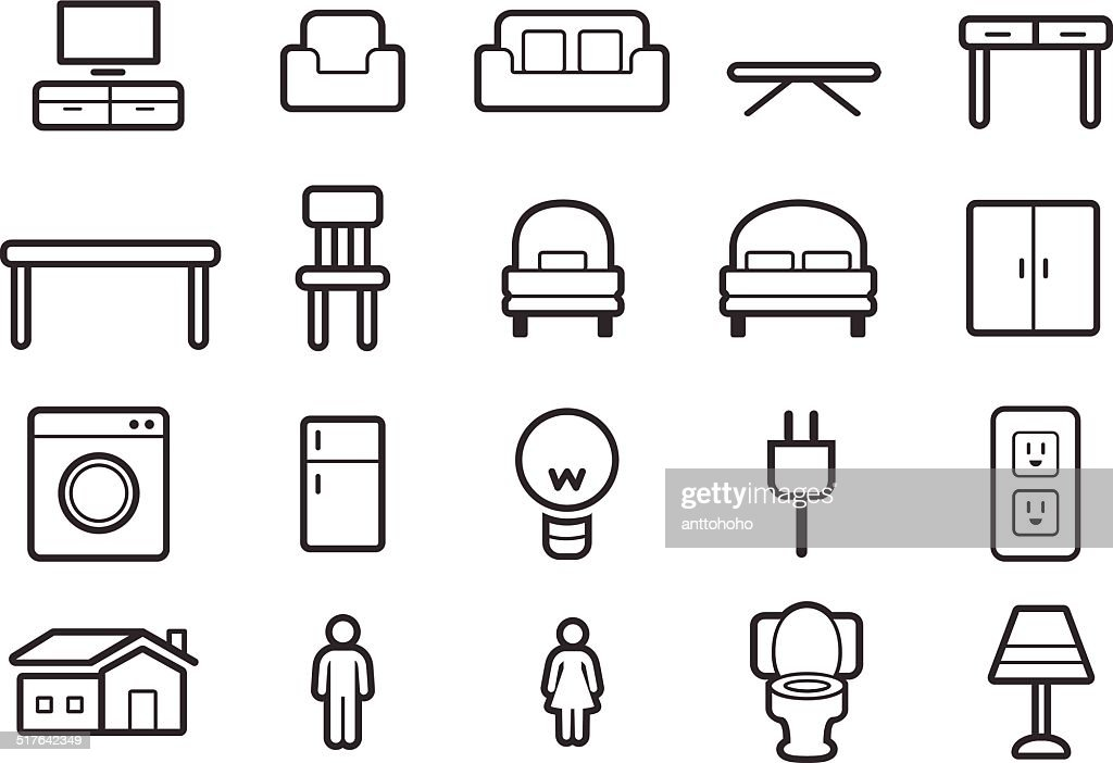 Furniture icons outline illustration vector art thinkstock