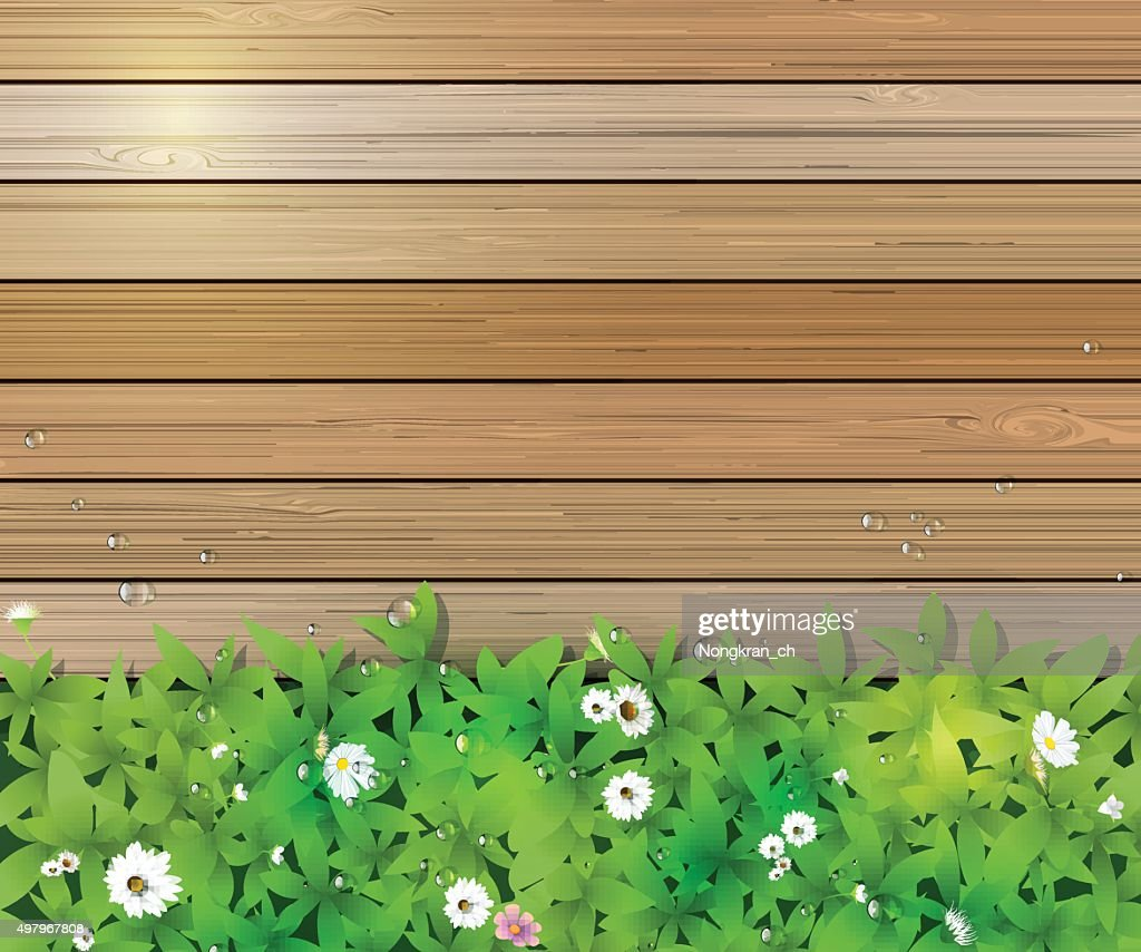 Gras Vloerbedekking Green Grass With White Flower Over Wood Fence Background
