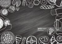 Hand Drawn Linear Cafe Menu On Chalkboard Ready To Use ...