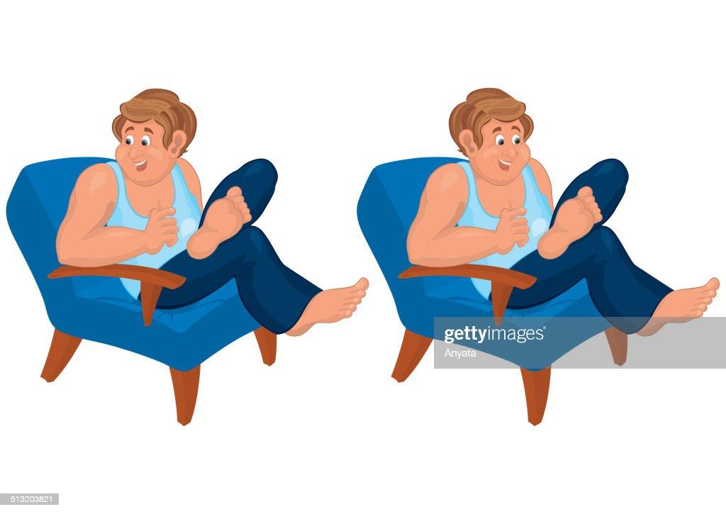Heureux En Dessin Anime Homme Assis Dans Une Chaise Bleue