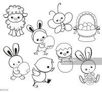 Buona Pasqua Vacanza Illustrazione Fumetto Caratteri ...