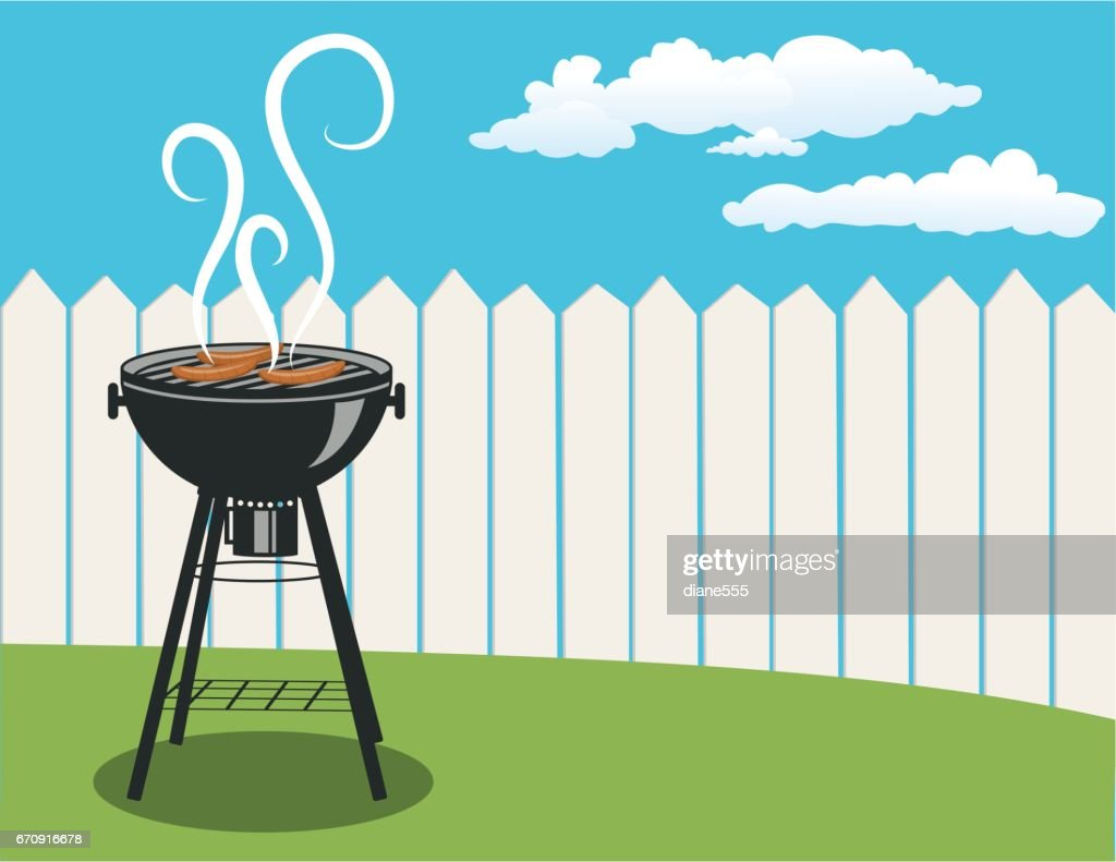 Horizontal Backyard Bbq Background Vector Art