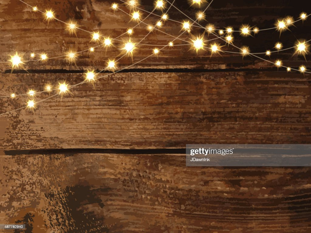 Fall String Lights Wallpaper Weddings Horizontal Wooden Background With String Lights And Jars