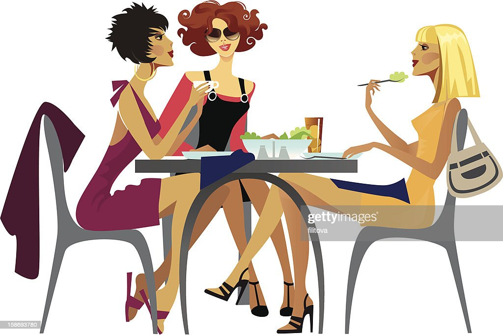 Cute Together Forever Wallpaper Illustration Of Fashionable Women Having Lunch Stock
